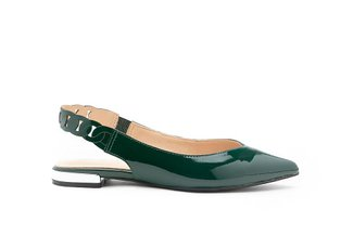 1359B-20 Green Slingback Pointed Patent Leather Flats