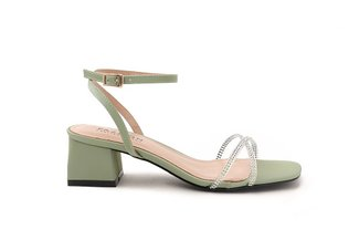 3518-10 Green Diamante Embellished Strappy Block Heels