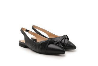 333-1A Black Draped Detail Pointed Slingback Leather Flats