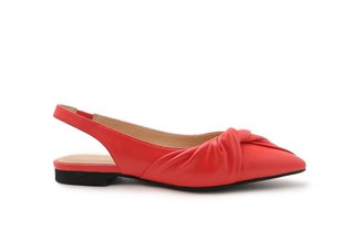 333-1A Melon Draped Detail Pointed Slingback Leather Flats