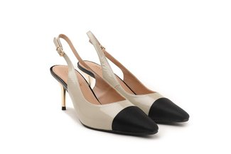 9231-2 Grey Ankle Strap Patent Leather Mid Heels