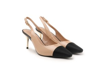 9231-2 Almond Ankle Strap Patent Leather Mid Heels