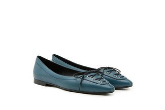 985-30 Blue Corset Lace-up Pointed Leather Ballerina Flats