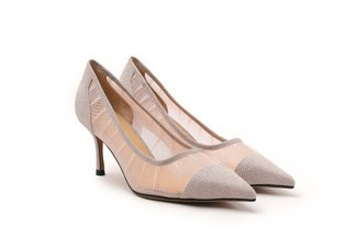 2005-50 Pink Sparkly Mesh Pointy Toe Pumps