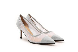 2005-50 Silver Sparkly Mesh Pointy Toe Pumps